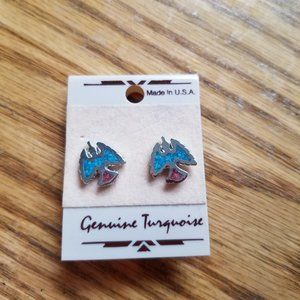 CUTE EAGLE VINTAGE SILVER TURQUOISE EARRINGS